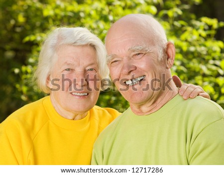 Senior couple in love outdoors - stock photo