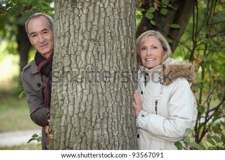 Senior couple in the countryside - stock photo