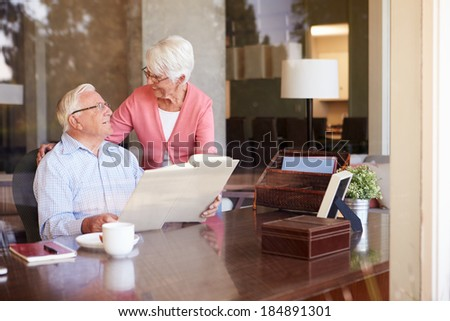 Senior Couple Looking At Photo Album Through Window - stock photo