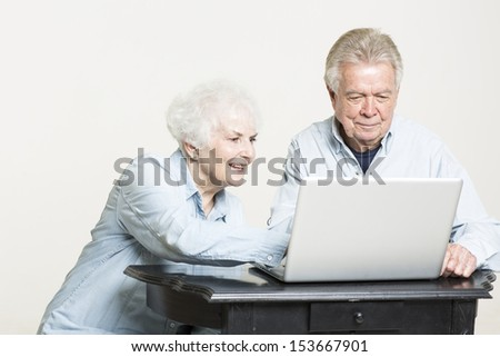 Senior couple looks at computer screen - stock photo