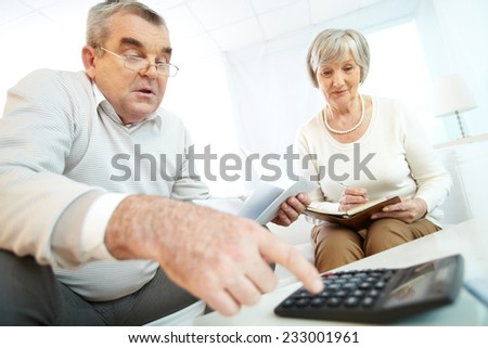 Senior couple making calculations - stock photo