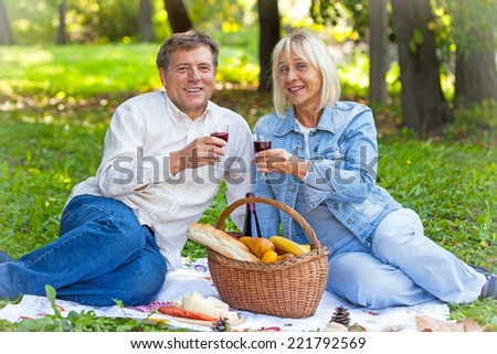 Senior couple on a picnic with red wine in hands