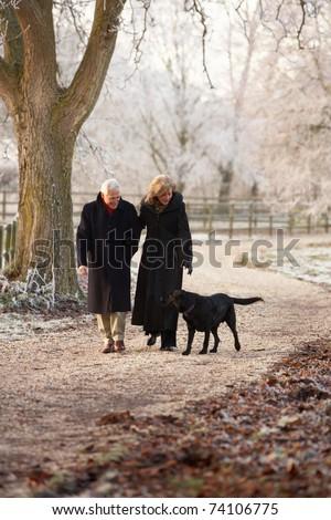 Senior Couple On Winter Walk With Dog Through Frosty Landscape - stock photo