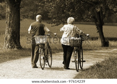 senior couple outdoors - stock photo