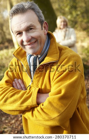 Senior couple outdoors in winter - stock photo