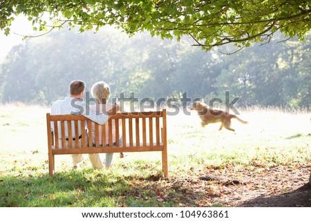 Senior couple outdoors with dog - stock photo