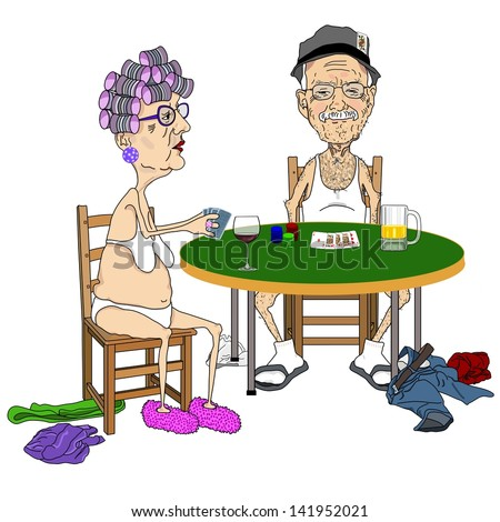 Senior Couple Playing Strip Poker - stock photo
