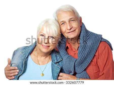 Senior couple portrait on white background - stock photo