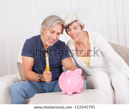 Senior couple raiding a piggybank sitting with a hammer in the mans hand and looks of anticipation and glee - stock photo