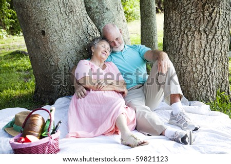 Senior couple relaxing on a picnic in the park. - stock photo