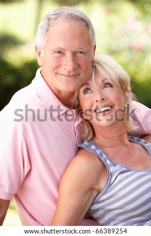 Senior couple relaxing together in park