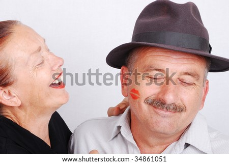 Senior couple situation in white isolated background - stock photo