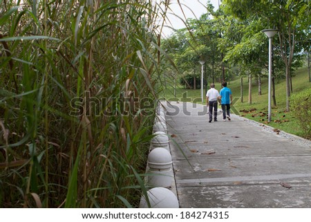 Senior couple taking a stroll at the park - stock photo