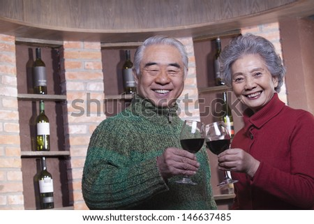 Senior Couple Toasting with Wine Glass
