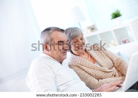 Senior couple using laptop - stock photo