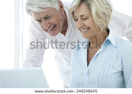 senior couple using laptop - stock photo