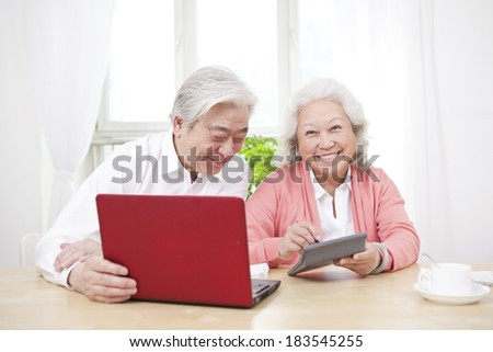Senior couple using laptop and calculator