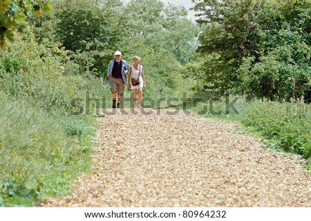Senior couple walking in nature on summer day. - stock photo