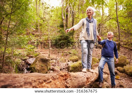 Senior couple walking together in a forest - stock photo