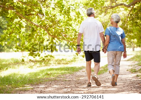 Senior couple walking together in the countryside, back view - stock photo