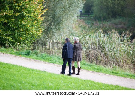 Senior couple walking together on an alley in the park in a summer day - stock photo