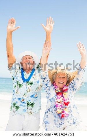 Senior couple with arms up on the beach on a sunny day - stock photo