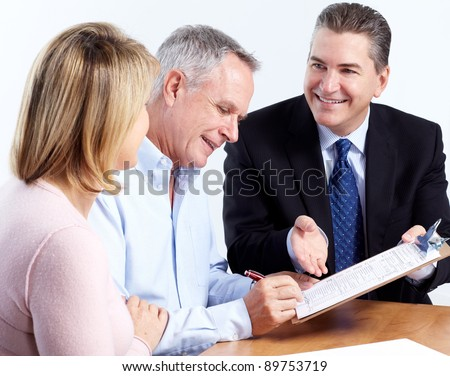 Senior couple with financial adviser. Isolated on white background. - stock photo