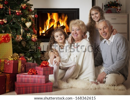 Senior couple with grandchildren sitting in front of Christmas tree smiling at camera