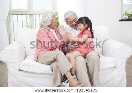 Senior couple with granddaughter	 - stock photo