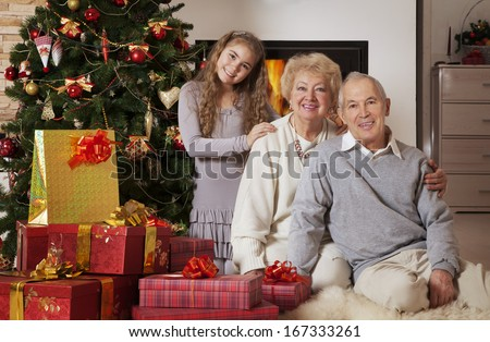 Senior couple with granddaughter sitting in front of Christmas tree smiling at camera  - stock photo