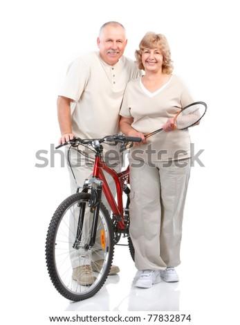 Senior couple with velo . Over white background - stock photo