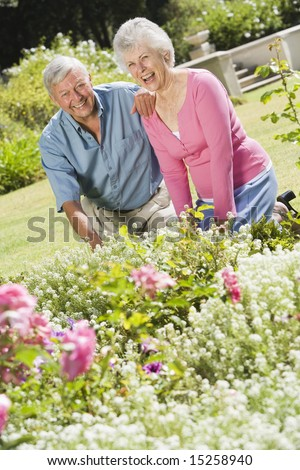 Senior couple working in garden flowerbed - stock photo