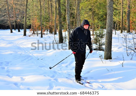 Senior cross country skiing