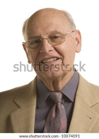 Senior distinguished business man over white background - stock photo