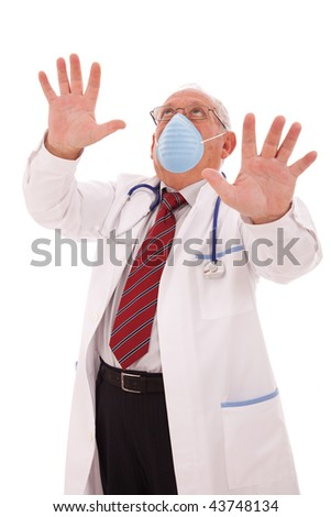 senior doctor alerting you with a protection mask