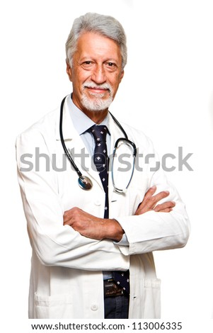 senior doctor on white background - stock photo