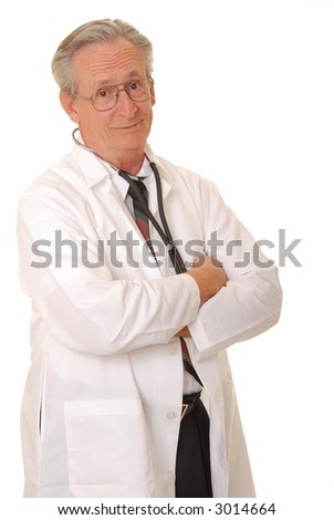 Senior doctor physician isolated on white