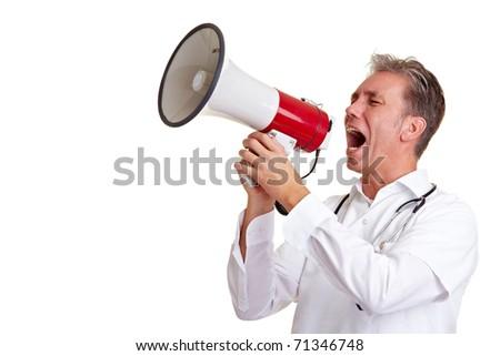 Senior doctor shouting into a big megaphone - stock photo