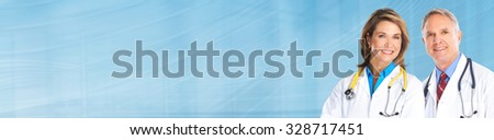 Senior doctors group over blue banner background. Health care. - stock photo