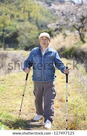 Senior, exercise, walking - stock photo
