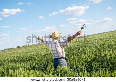 Senior farmer in a field looking into the distance with arms outstretched - stock photo