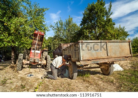 Senior farmer repairing his tractor outdoor in the field