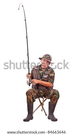 Senior fisherman isolated on white background - stock photo