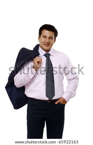 senior full length businessman isolated on white background - stock photo