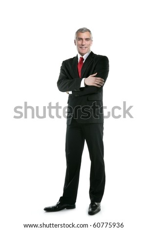senior full length businessman posing stand isolated on white - stock photo
