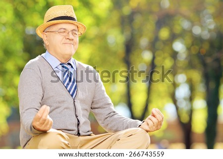 Senior gentleman meditating seated on a green grass in a park during autumn - stock photo