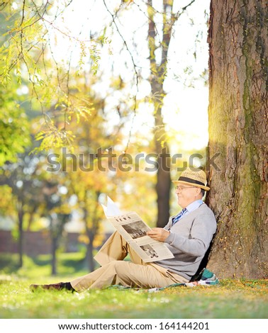Senior gentleman seated on a grass reading a newspaper in a park at autumn, shot with a tilt and shift lens - stock photo