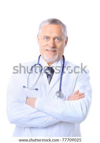 senior handsome man doctor - stock photo