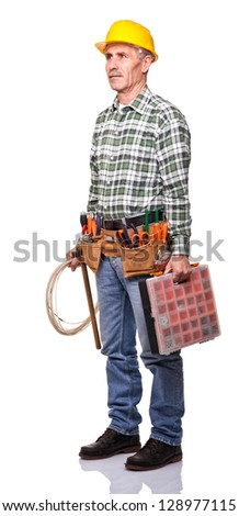 senior handyman on white background