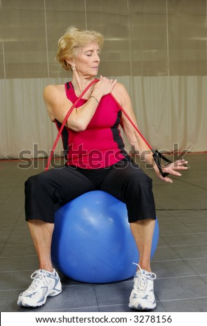 Senior Health and Fitness Bicep Exercise - stock photo